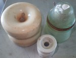3 x different old power line insulators glass and clay. Click for more information...