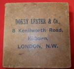 C1800s cardboard box Dorey Lester and co Kilburn London. Click for more information...