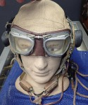 ww2 Raaf Raf pilots helmet with goggles and mike setup. Click for more information...