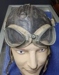 ww2 German Luftwaffe pilots winter helmet with goggles. Click for more information...
